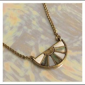Vintage Abalone Gold MOP Pendant Necklace